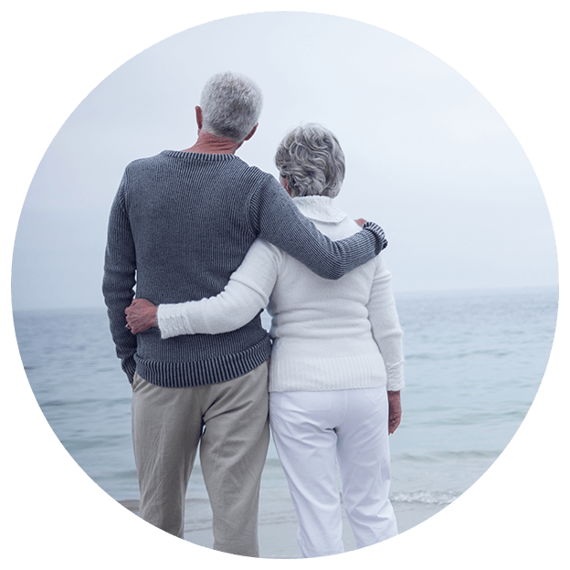 happily retired couple borderless